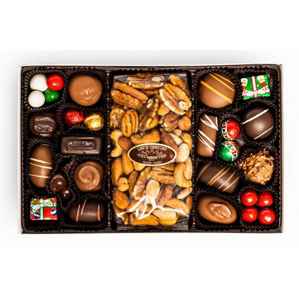 Assorted Nuts and Chews Christmas Chocolate Candy Box